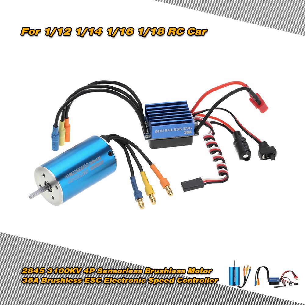 black red 2845 3100KV 4P Sensorless Brushless Motor & 35A Brushless ESC  Electronic Speed Controller for 1/14 1/16 1/18 RC Car - RcMoment com