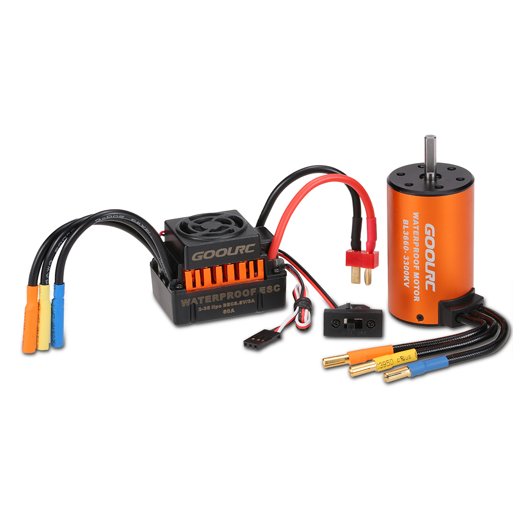 GoolRC Upgrade Waterproof 3660 3300KV Brushless Motor with 60A ESC Combo Set for 1/10