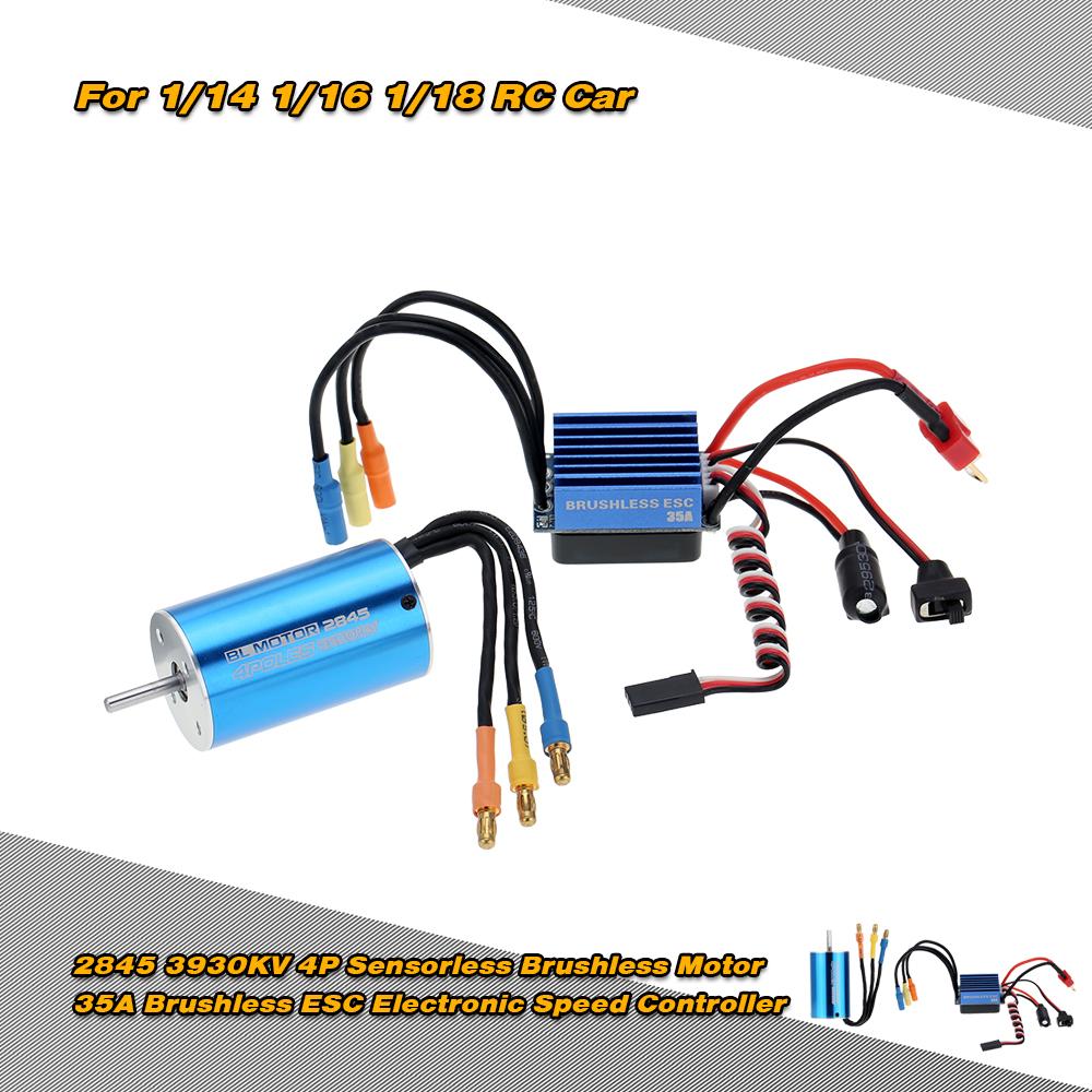 2845 3930KV 4P Sensorless Brushless Motor & 35A Brushless ESC Electronic  Speed Controller for 1/14 1/16 1/18 RC Car - RcMoment com