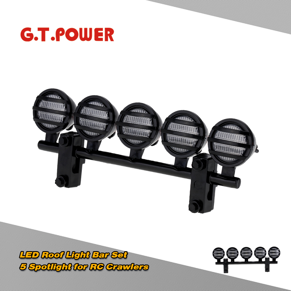 G.T.POWER LED Roof Light Bar Set 5 Spotlight For 1/10 RC