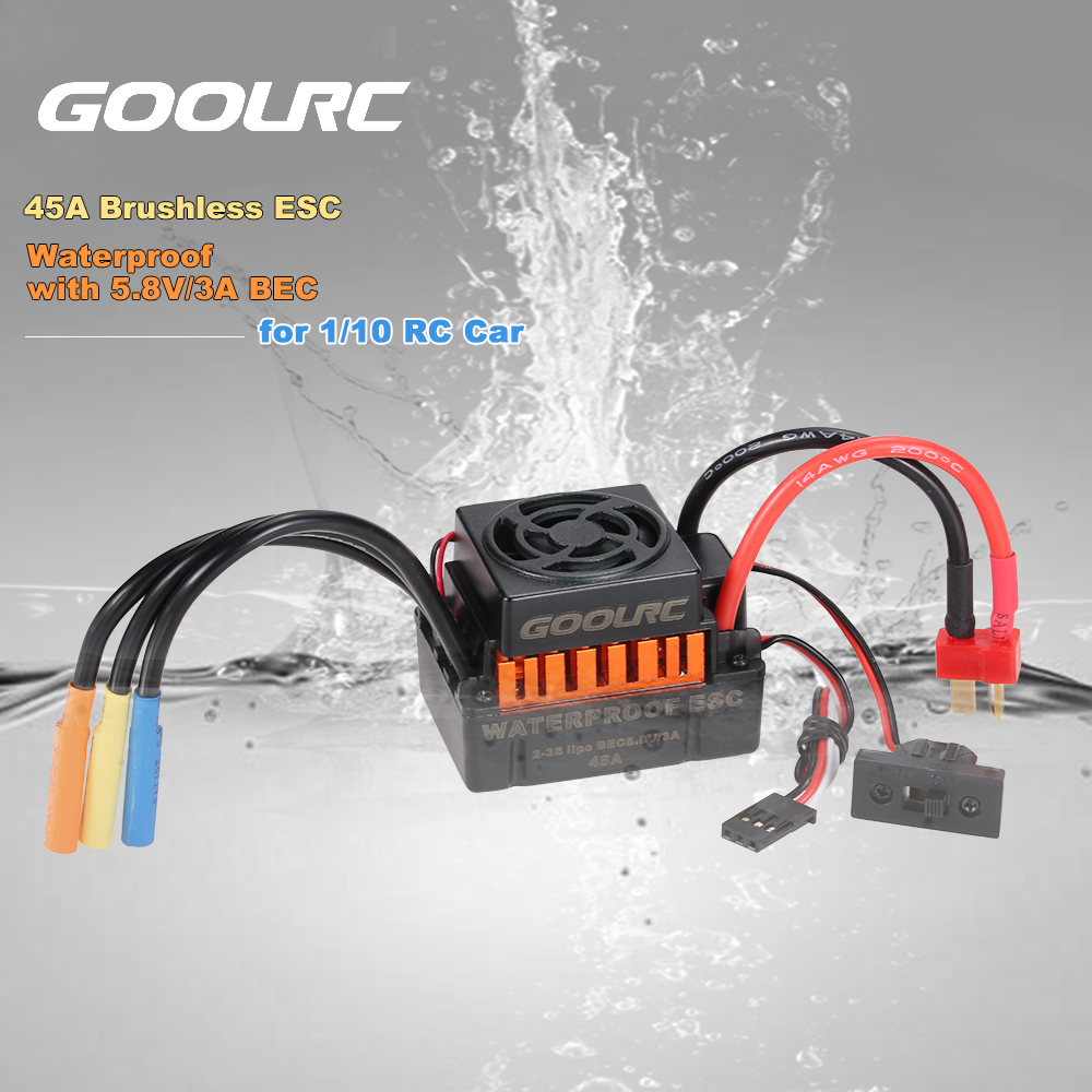 GoolRC Upgrade Waterproof F540 3300KV Brushless Motor with 45A ESC Combo Set for 1/10