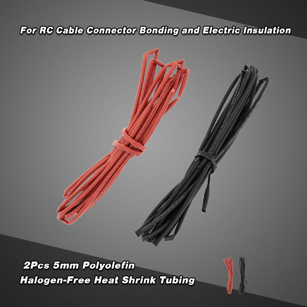 2Pcs 5m 5mm Black & Red Polyolefin Halogen-Free Heat Shrink Tubing ...
