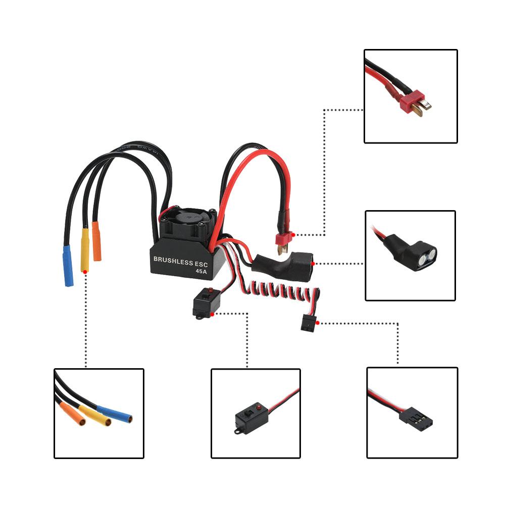 3650 3930kv 4p sensorless brushless motor  u0026 45a brushless esc electronic speed controller with