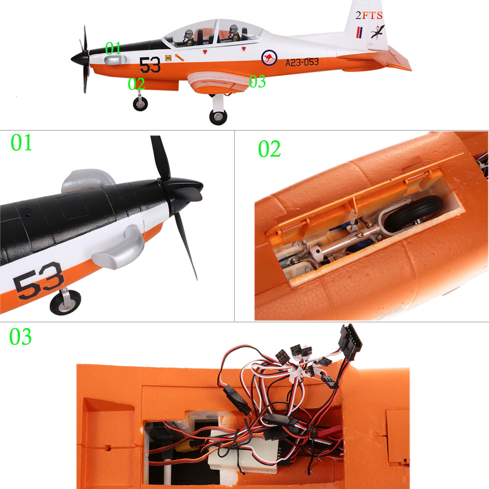 Unique PC-9 Warbird Trainer 1200mm Wingspan EPO Fixed-wing Aircraft PNP  Version RC Airplane with Electric Retractable Landing Gear and Auto Pilot