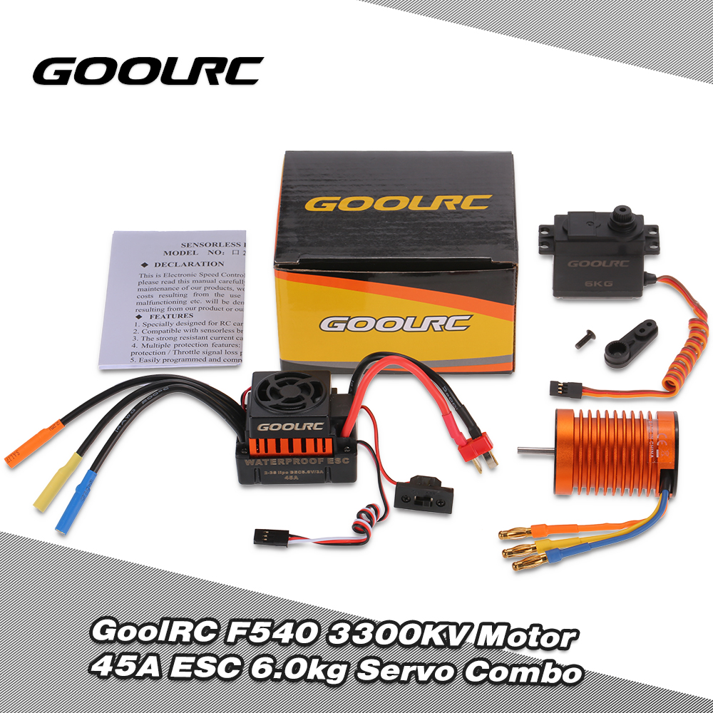 GoolRC F540 3300KV Waterproof Brushless Motor 45A ESC with 6.0kg Metal Gear Servo Combo Set