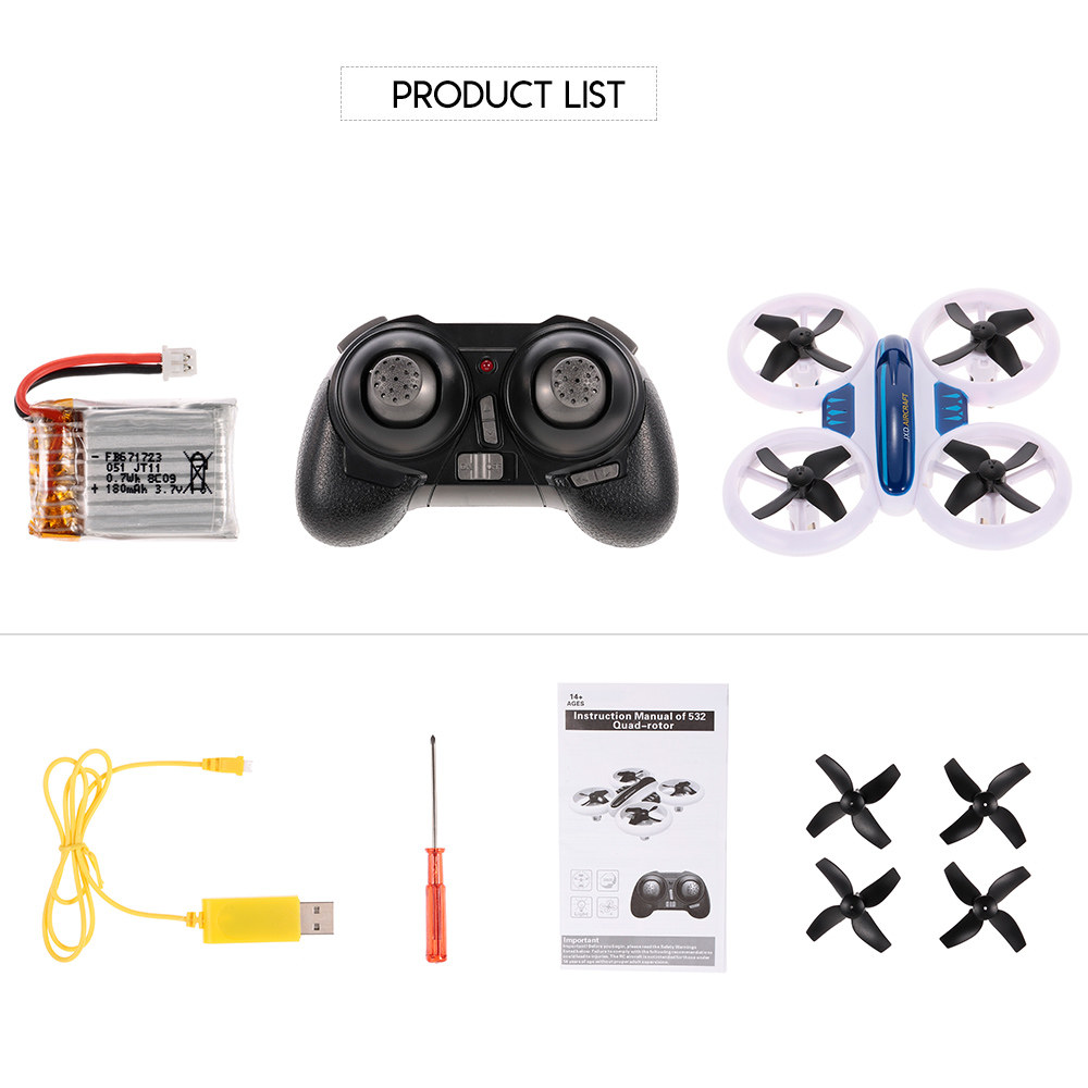JXD 532 Altitude Hold Mini Neon Drone Headless Mode 3D Flip LED Light RC  Quadcopter Toy Kids Gift