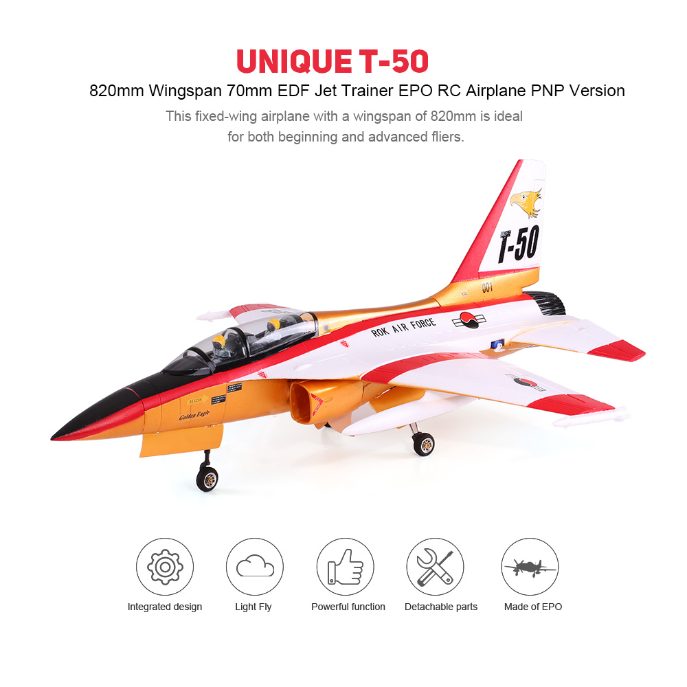 Unique T-50 Drone 820mm Wingspan 70mm EDF Jet Trainer EPO Aircraft RC  Airplane PNP Version with Electric Retractable Landing Gear and Auto Pilot  Cabin