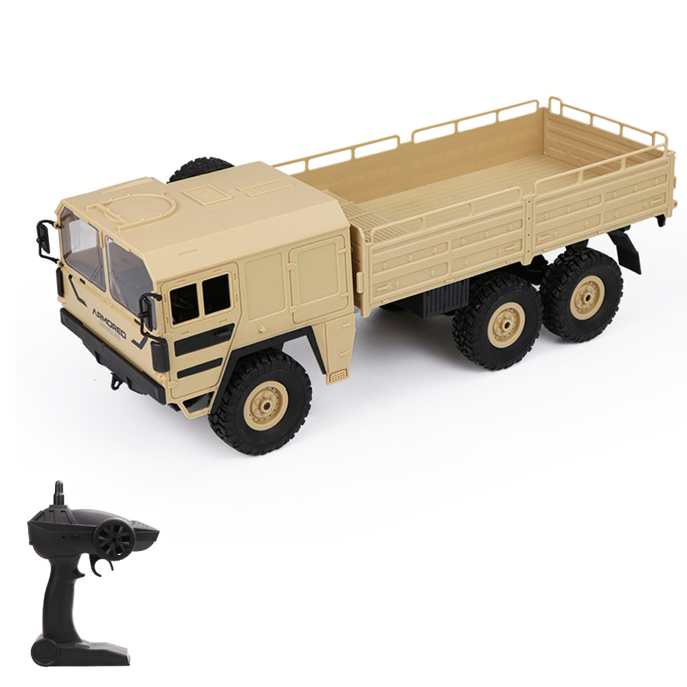 hot sale online 4dbb8 66bac JJR C Q64 1 16 RC Off-Road Military Truck 2.4G 6WD Car with Head Lights  500g Load RC Pickup Car Gift