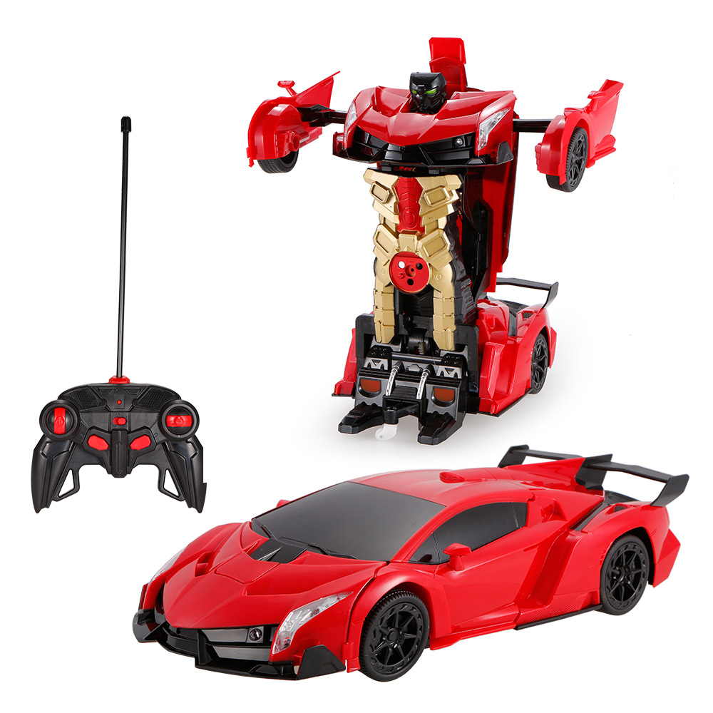 red 1 12 remote control transformable car gesture sensing control transformation robot rc toy. Black Bedroom Furniture Sets. Home Design Ideas