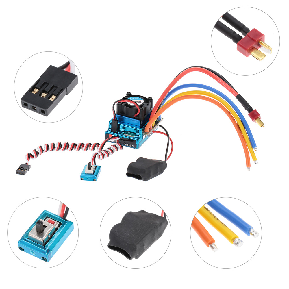 120a Sensored Brushless Speed Controller Esc For 1 8 10 12 Car Wire Race Wiring Crawler
