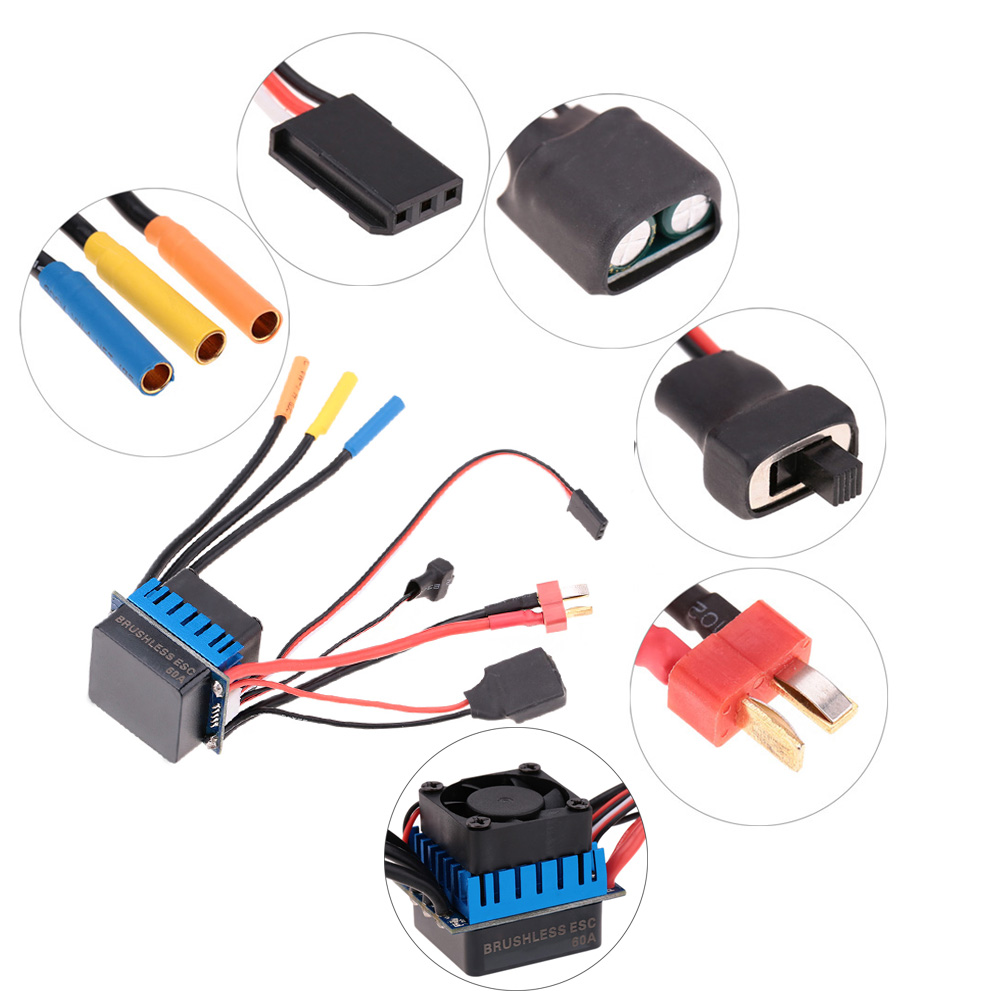 3650 3100KV/4P Sensorless Brushless Motor with 60A Brushless ESC(Electric  Speed Controller)for 1/10 RC Car Truck
