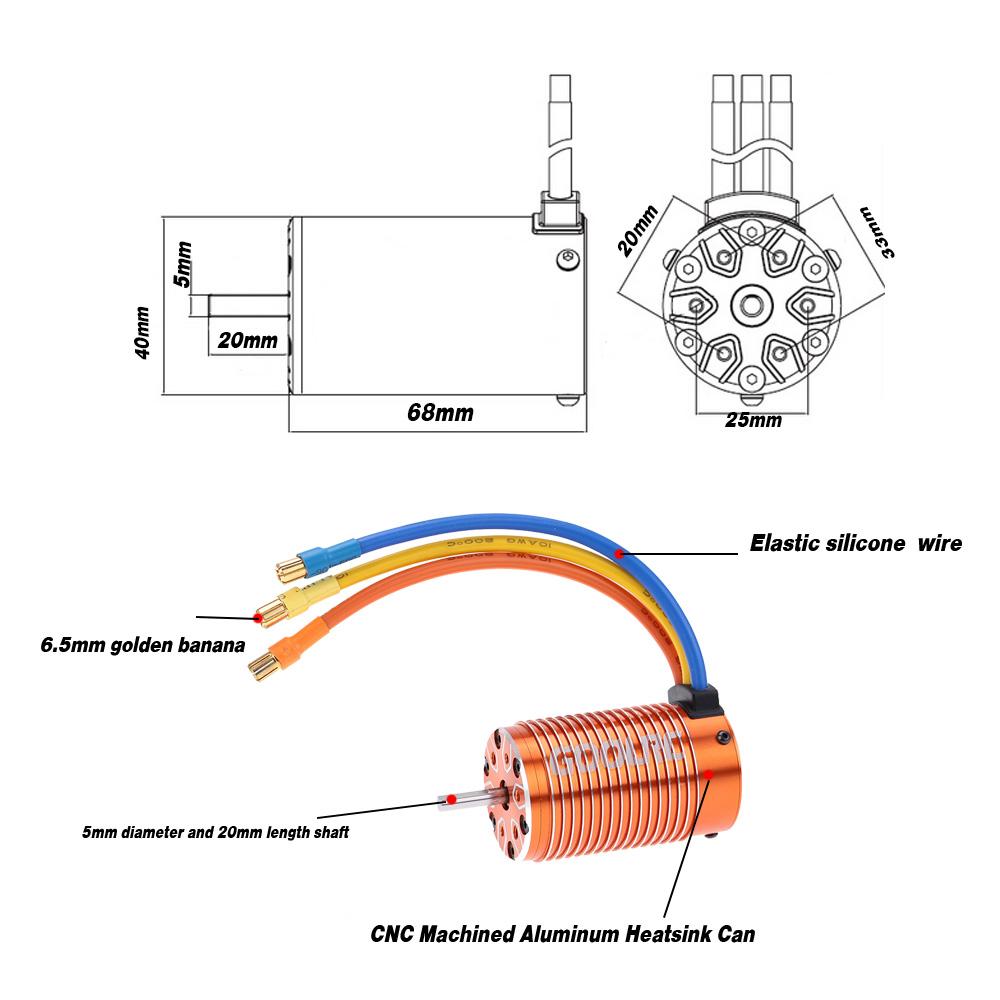 Goolrc 4068 2050kv Sensorless Brushless Motor For 1 8 Rc Car Wiring Diagram