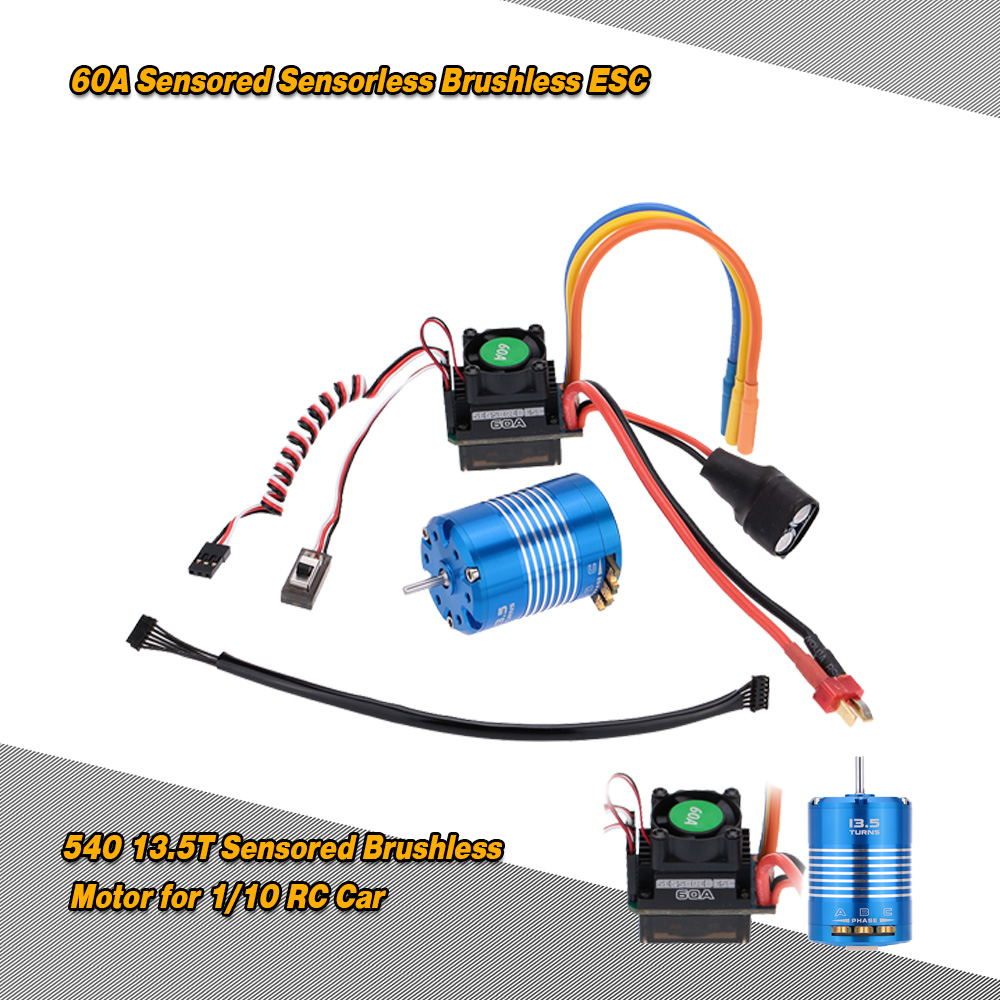 60A Sensored Sensorless Brushless Electronic Speed Controller & 540 13 5T  Sensored Brushless Motor for 1/10 RC Car - RcMoment com