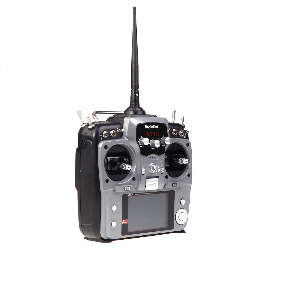 gray RadioLink AT10 2 4G 10CH Remote Control System Transmitter w/ R10D  Receiver and PRM-01 Voltage Return Module Model 2 (RadioLink  Transmitter