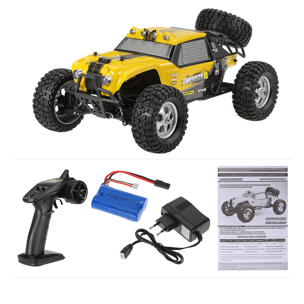 yellow eu HBX 12889 1/12 2 4G 4WD Two Speed Transmission Truck Off-Road  Buggy RTR RC Car with LED Lights - RcMoment com