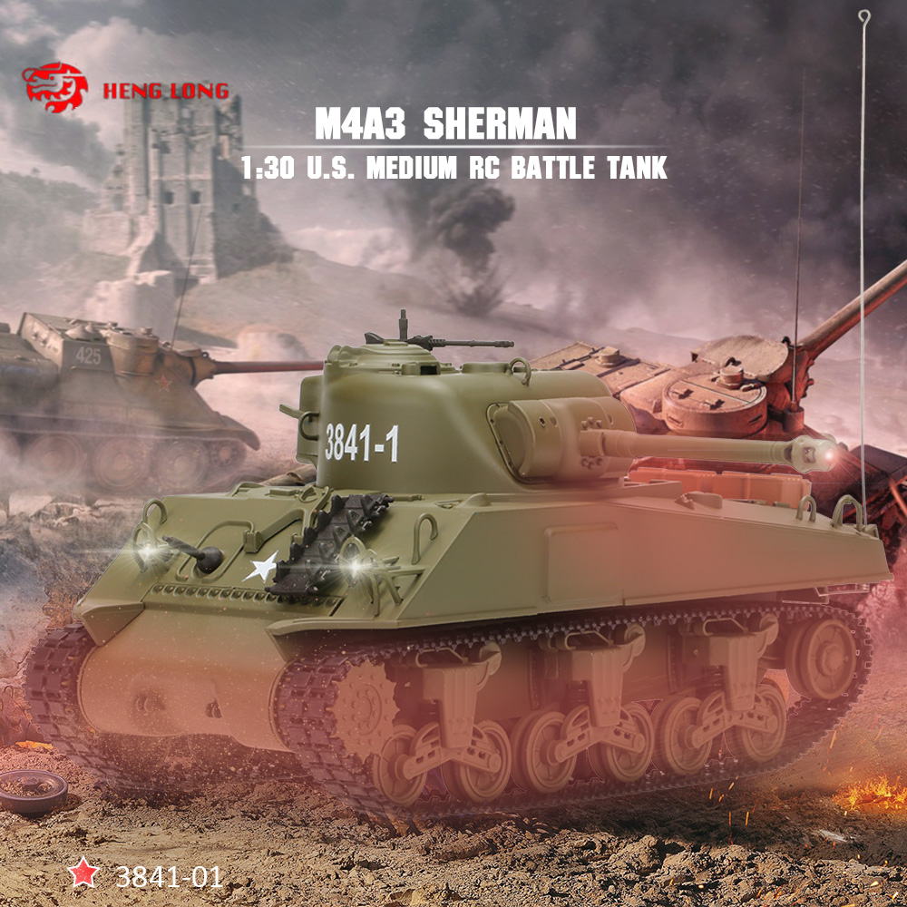 bc1868f209a6 Original HENG LONG 3841-01 1 30 27MHz U.S. Medium Tank M4A3 SHERMAN RC  Battle Tank with Lights and Sounds