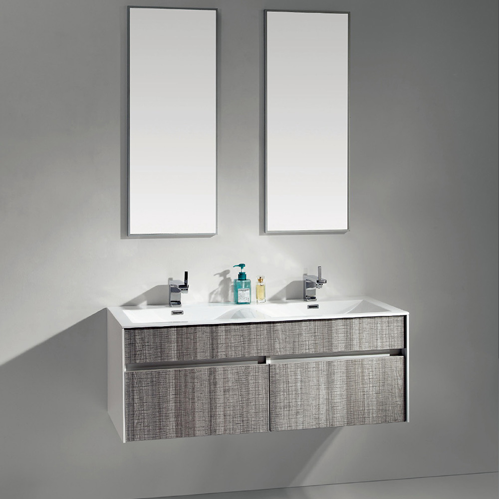 de salle de bain suspendu en bois avec double vasque en couleur ... - Salle De Bain Bois Gris