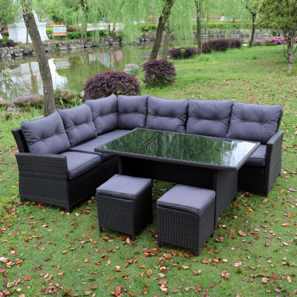 Salon de jardin complet 8 places en aluminium et r sine for Salon de jardin aluminium 8 places