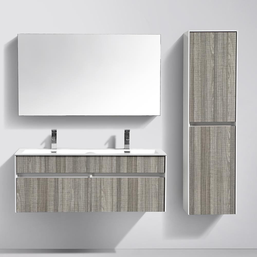 Petite Salle De Bain Chaleureuse ~ meuble de salle de bain suspendu en bois avec double vasque coloris