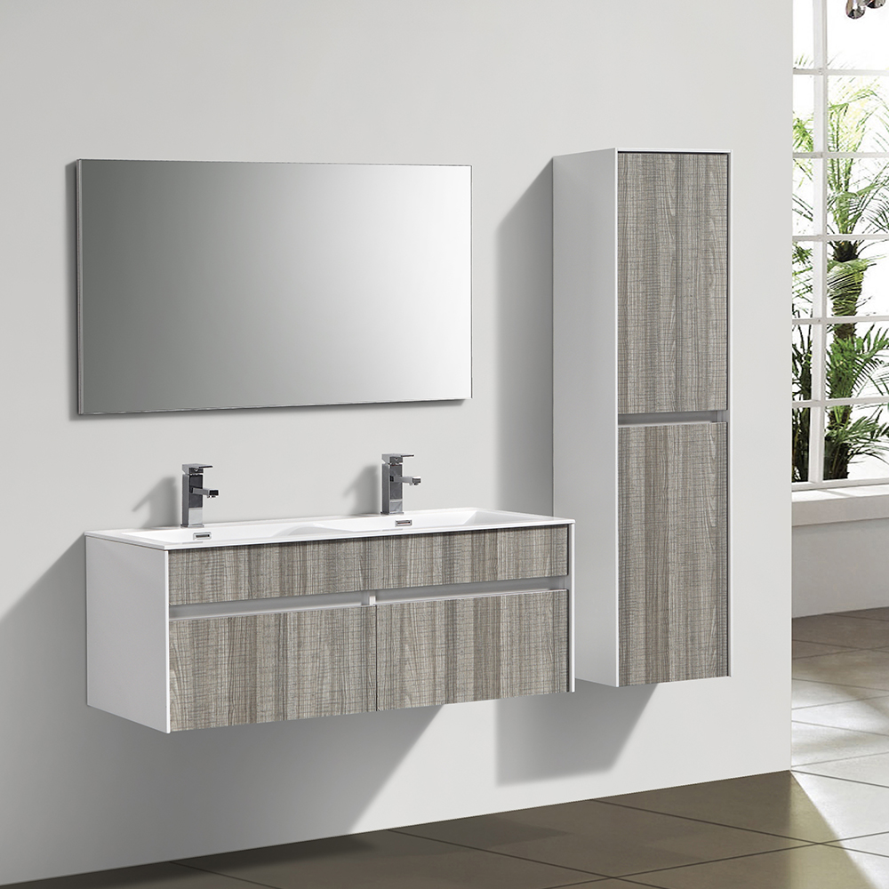 d s meuble de salle de bain double vasque suspendu en bois gris chin contemporain gris. Black Bedroom Furniture Sets. Home Design Ideas