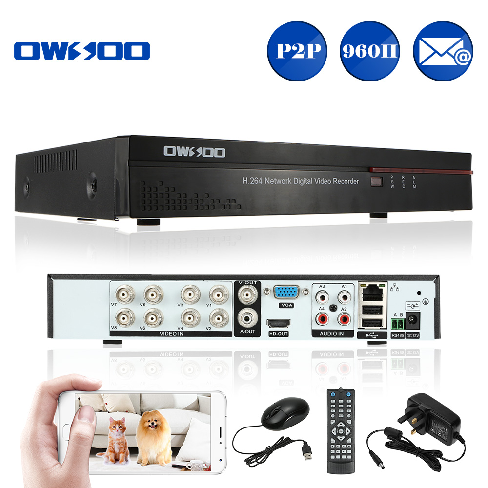 OWSOO 4CH 1080P P2P Cloud NVR Network Video Recorder APP H.264 Motion Detection