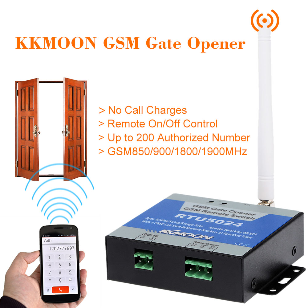 Kkmoon Gsm Door Gate Opener Remote On Off Switch Free Call Sms Modem Bolt Lcd Slim Unlock All Command Support 850 900 1800 1900mhz