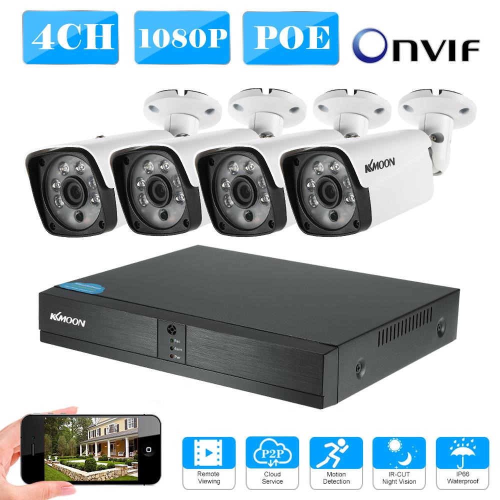 KKmoon 4CH HD 1080P Onvif POE NVR 4*1080P 2.0MP POE Bullet IP Camera CCTV System