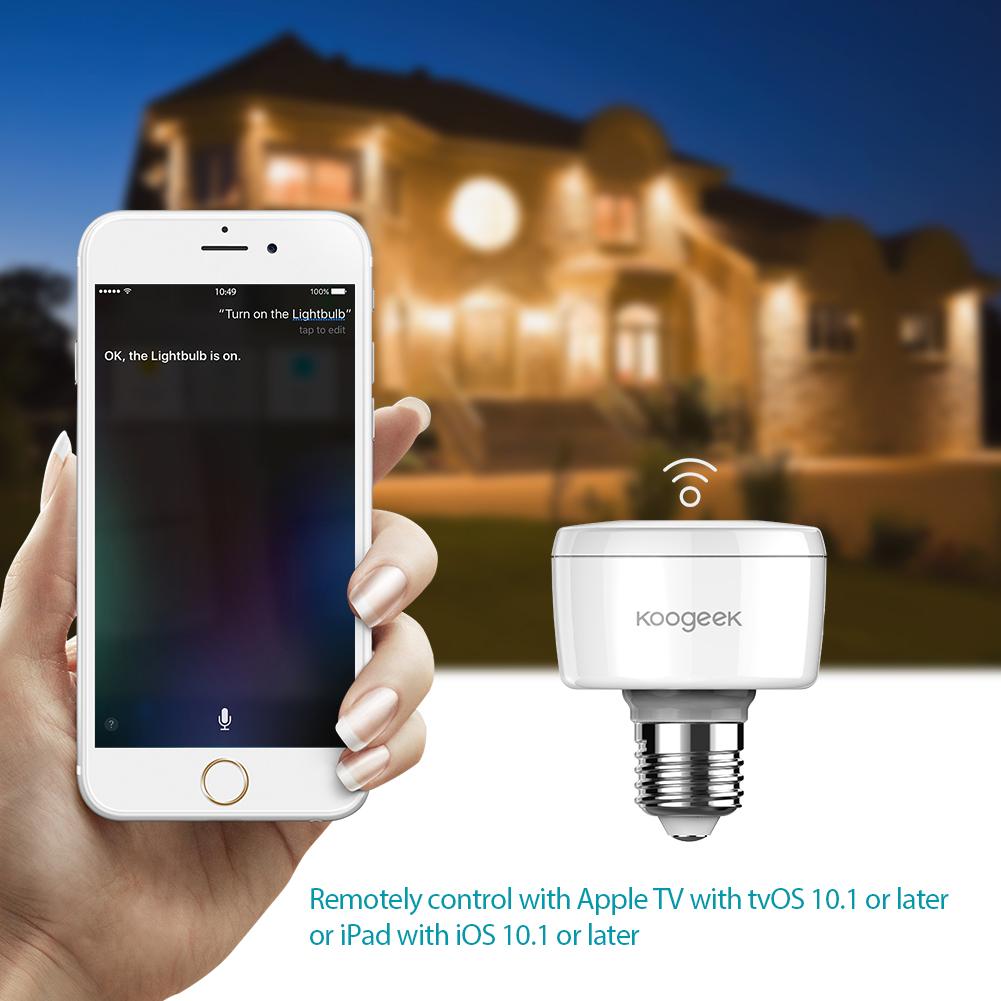 us Koogeek Wi-Fi Enabled Smart Socket E27 Light Bulb Adapter Works ... for Smart Bulb Socket  186ref