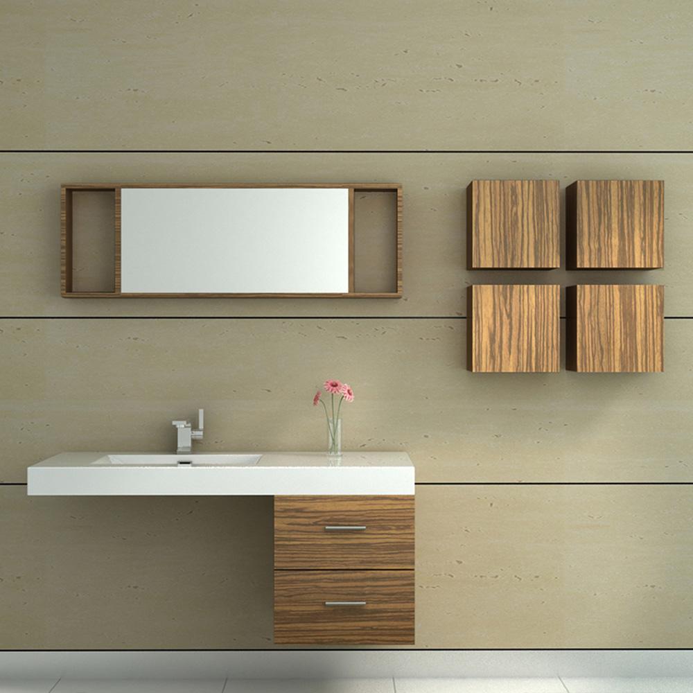 Meuble de salle de bain en bois avec simple vasque coloris for Meuble salle de bain simple vasque bois