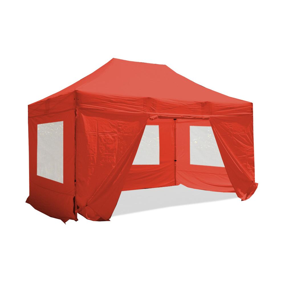 nur rot farbe komplettset faltpavillon alu 40 mit fenster polyester. Black Bedroom Furniture Sets. Home Design Ideas