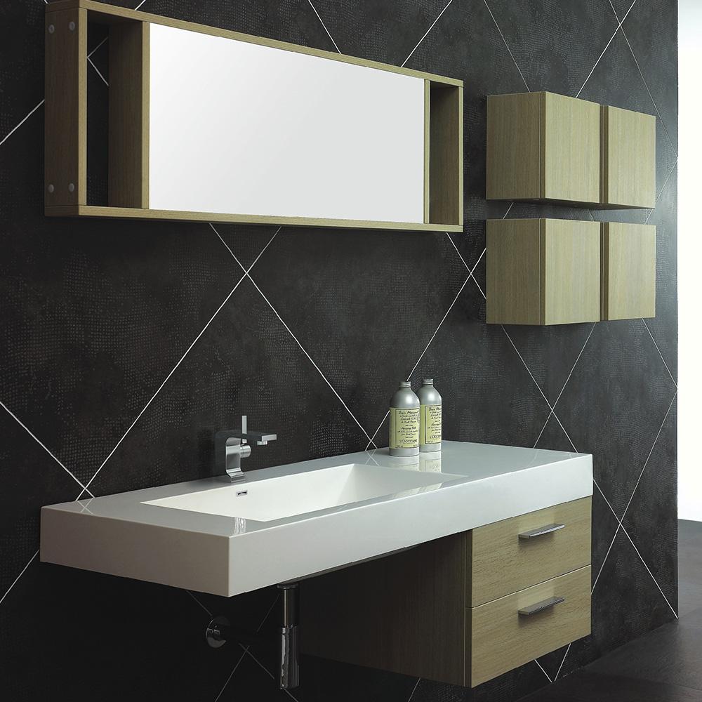 meuble de salle de bain en bois avec simple vasque coloris pin. Black Bedroom Furniture Sets. Home Design Ideas