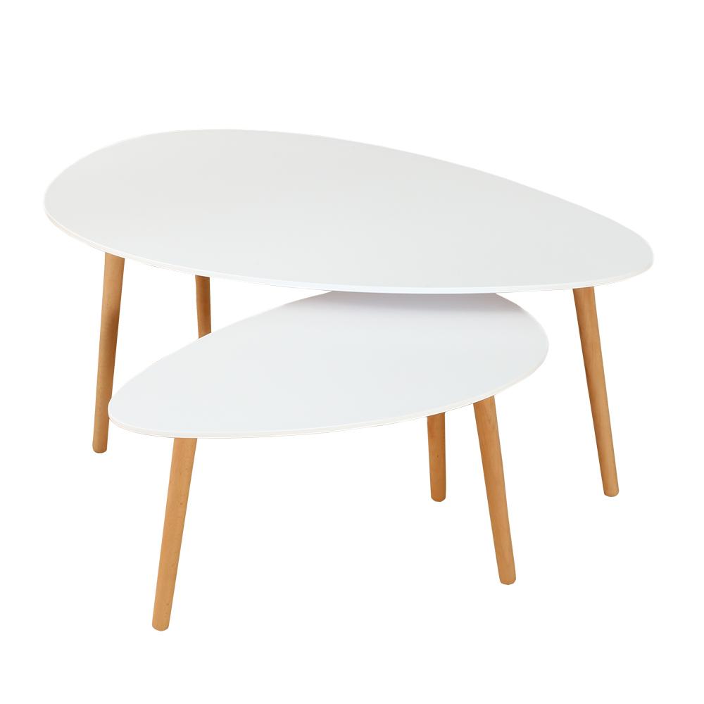 Ensemble De 2 Tables Basses Gigognes Style Scandinave Pieds Bois
