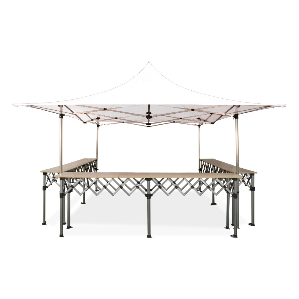 Stand buvette barnum pliant 4x4m alu 40 3 comptoirs for Stand pliant