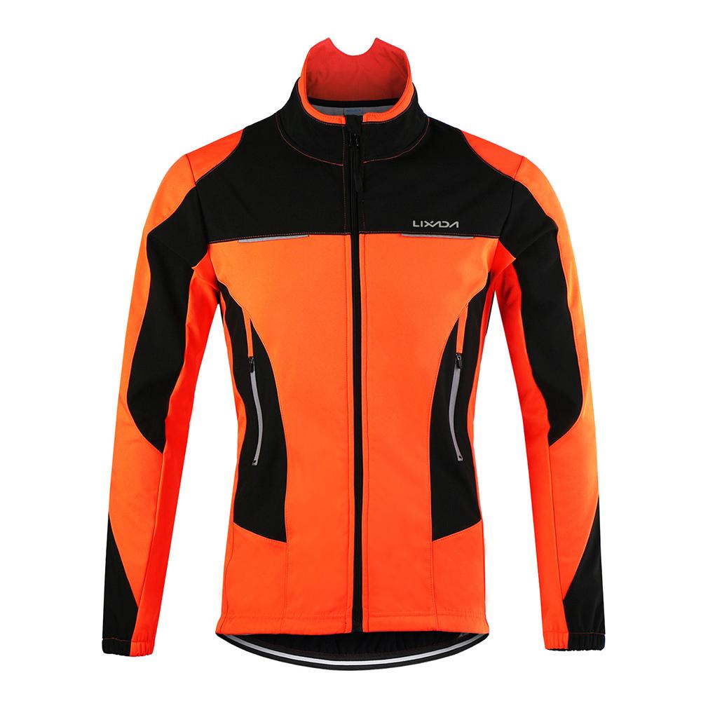Lixada Men Cycling Jacket Waterproof Windproof Thermal Fleece Bike Jersey MTB Bicycle Riding Running Autumn Winter Jacket Coat