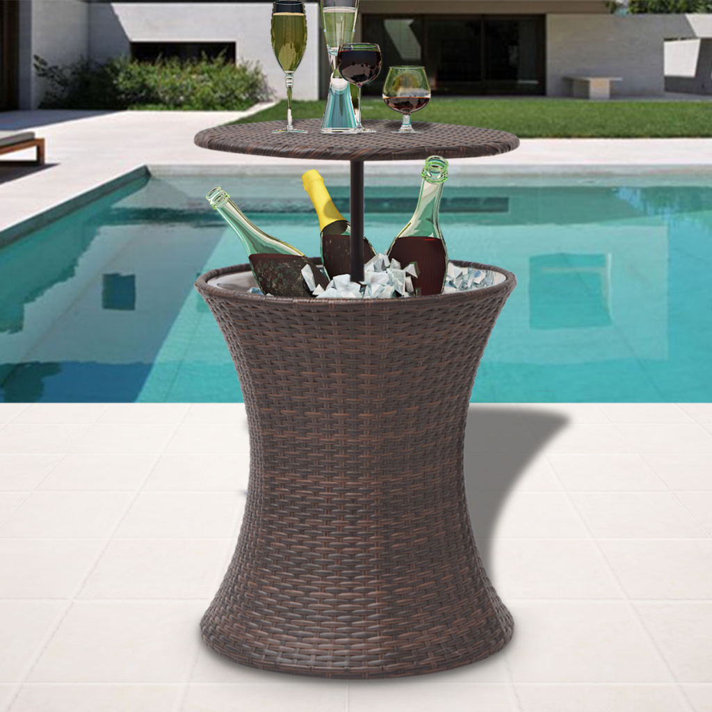 Gentil Ice Cooler Bucket Table Poly Rattan Brown