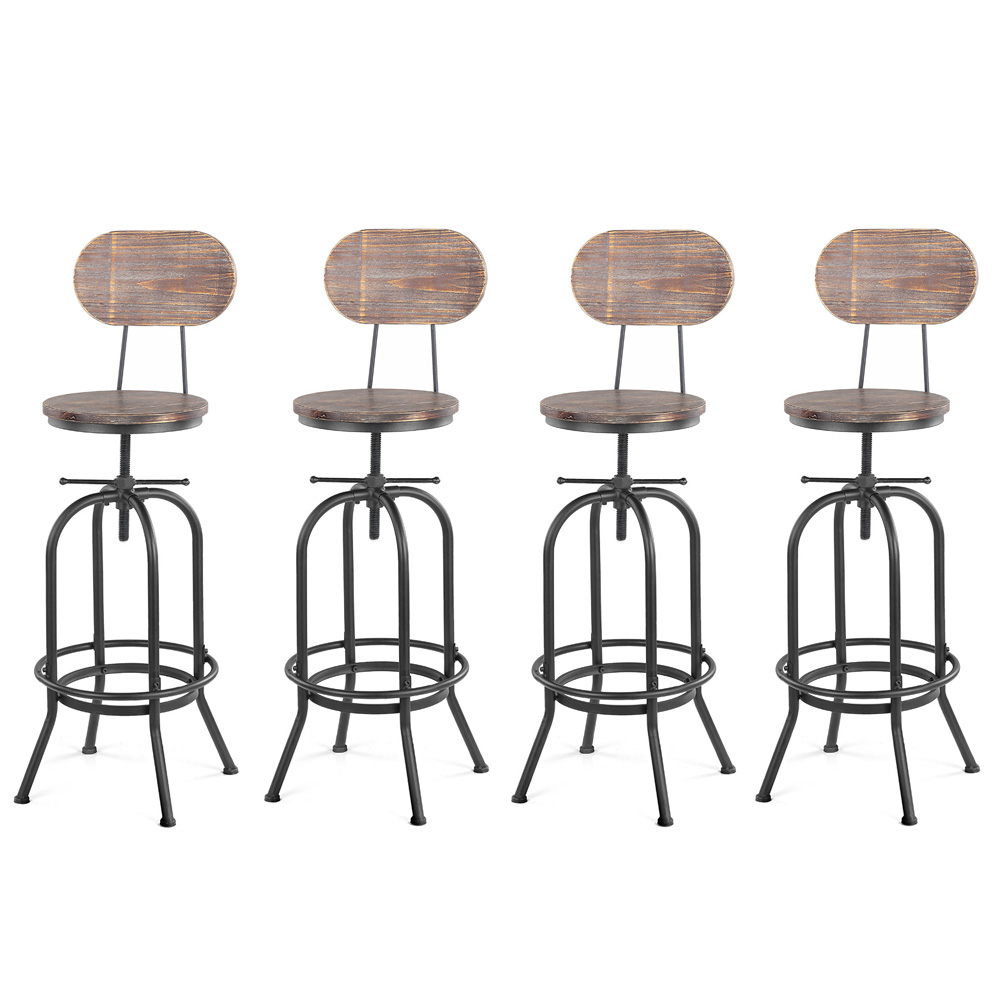 lot de 4 chaises de bar de style industriel ikayaa. Black Bedroom Furniture Sets. Home Design Ideas