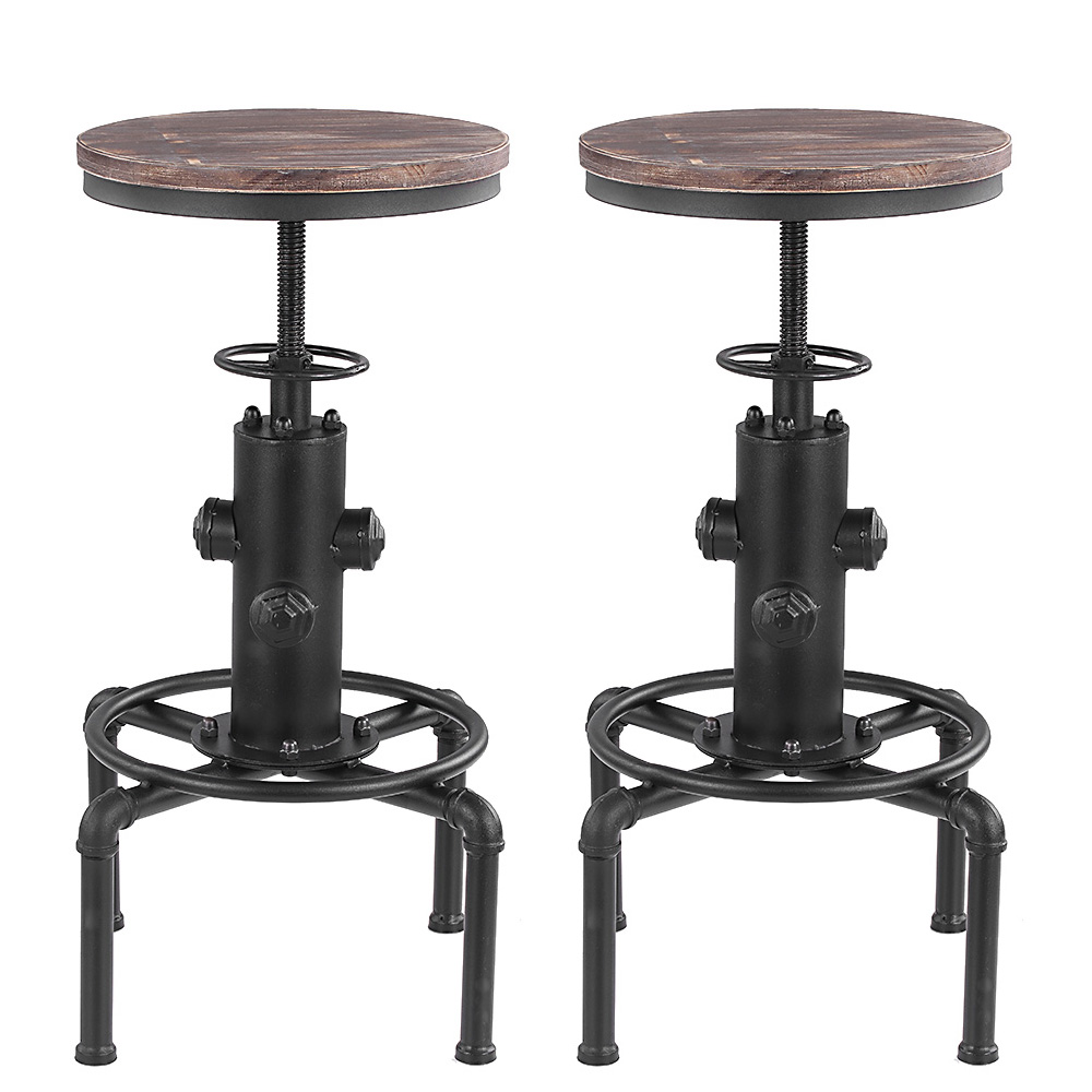 lot de 2 tabourets de bar de style industriel en bois ikayaa. Black Bedroom Furniture Sets. Home Design Ideas