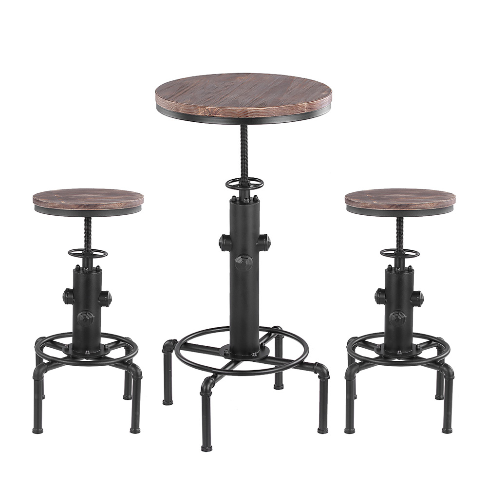 ensemble de table de bar et 2 tabourets de style industriel ikayaa. Black Bedroom Furniture Sets. Home Design Ideas