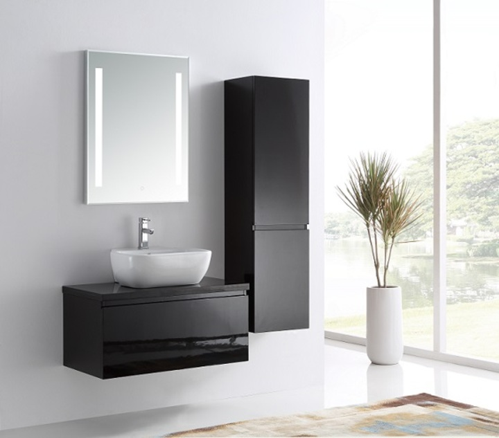 meuble de salle de bain avec simple vasque en couleur noir brillant. Black Bedroom Furniture Sets. Home Design Ideas