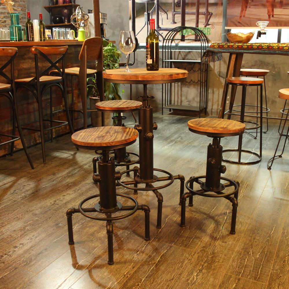 Wood ikayaa pinewood top round pub bar table lovdock ikayaa pinewood top round pub bar table watchthetrailerfo