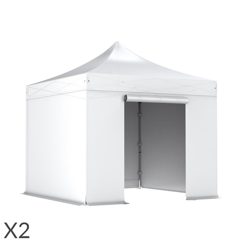 nur wei komplettset faltpavillons 3x3 m alu 40 polyester wasserdicht zweierpack. Black Bedroom Furniture Sets. Home Design Ideas