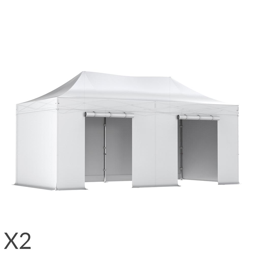 lot de 2 des tentes pliantes pro 50mm 3x6m 4 c t s b che. Black Bedroom Furniture Sets. Home Design Ideas