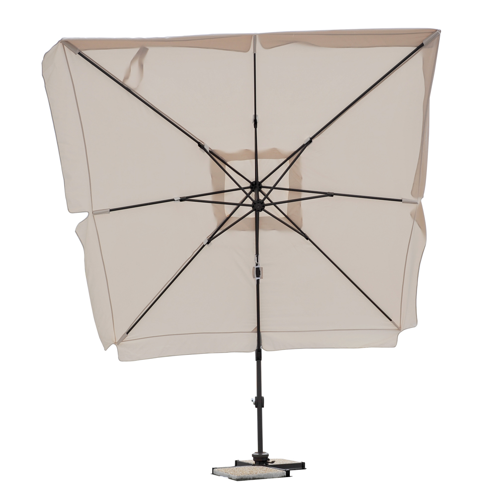 parasol d port carr 3x3 avec bandeaux flottants et pied alu blanc seulement sur. Black Bedroom Furniture Sets. Home Design Ideas