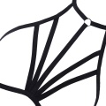 Women Cage Bra Stretchy Suspender Bandage Strappy Body Chain Cupless Bralette Crop Top Black