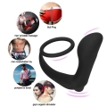 Waterproof Silicone Male Orgasm Prostate Massager with Ring Anal Vibrator Butt Plug Adult Erotic Anal Sex Toy Fine Delay Ring