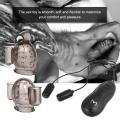 Penis Massager With 2 Caps Silicone Male Masturbator 2 Removable Bullet Vibrators Delay Lasting Trainer Men's Glans Vibrator Sex Products