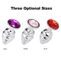 Spiral Anal Plugs Metal Butt Beads Sex Toys Women Men Sex Products Stainless Steel+Crystal Jewelry
