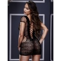 Women Sexy Lingerie Crochet Mesh Hollow Out Mini Chemise Dress Bodysuit Sleepwear Black/Red
