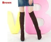Mujeres más de los zapatos hasta la rodilla con tacones de las botas Negro Marrón