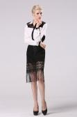 Moda Sexy Black Lace franjas Hip das mulheres Pacote Badycon Skirt